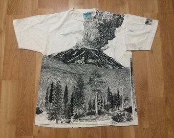 Large 90's Mount Saint Helen's Washington T shirt men's vintage Oneita volcano beige white black 1990's