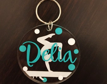 Gymnastics Keychain - Name Keychain - Gymnastics Bag Tag - Gymnast Gift - Name Tag Keychain - Acrylic Name Keychain