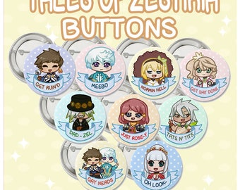 Tales of Zestiria Pin-Back Buttons