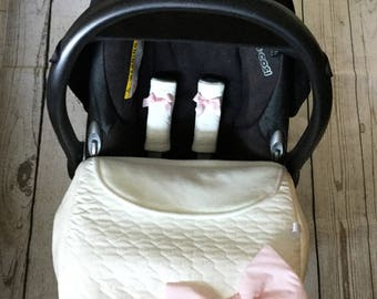 baby car seat apron harness strap covers attached pink bow cream off white pvc fleece universal fit new handmadesatin bows