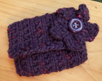 Purple Coin Purse, Knitted Purse with Flower Decoration