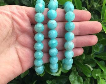 Amazonite Round Beaded Bracelet, Blue Amazonite Stone, Stretch Bracelet, Stone Bracelet, Amazonite Stone, Amazonite Jewelry,
