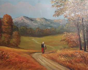 Vintage landscape forest mountain oil painting