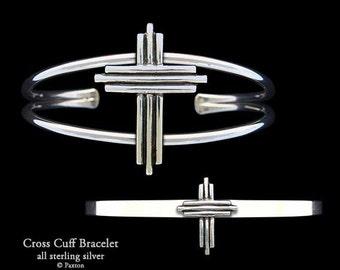 Cross Bracelet Sterling Silver Cross Cuff Bracelet Handmade