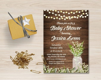 Rustic Baby Shower Invitation Printable, Babys Breath Baby Shower Invitation, Mason Jar Baby Shower Invitation, Rustic Birthday Invitation