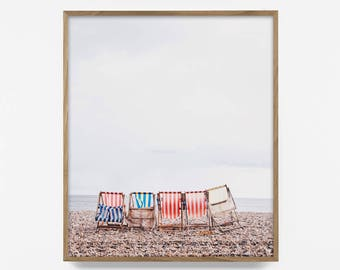 retro beach chair print, retro wall art, beach chair art, colorful beach print, vintage beach decor, california print, vintage beach art