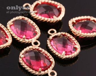 2pcs-13.5mmX9mmGold plated Brass Faceted Oval Framed glass pendants-Ruby(M350G-C)