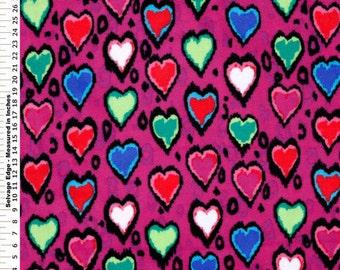 Fabric by the 1/2 Yard - Heart Skin Purple Polar Fleece
