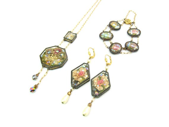 Vintage Romantic Shadow Box Sparkly Jewelry Set, 1990s