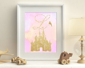 Princess castle personalized printable nursery pink watercolor and gold wall art, gold glitter monogram princess girl room art download