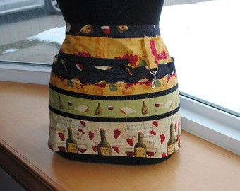 Vendor Server Apron  Wine Lovers Zipper Apron Black Gold Green Good Friends Wine Bottles