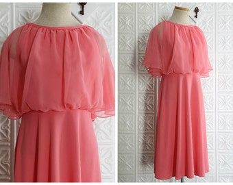 Pink Day Dress with Sheer Chiffon Overlay