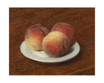 Three Peaches on a Plate, French Still Life Oil Painting Print