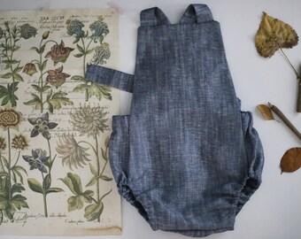 Chambray Linen romper | Linen Romper | Blue Romper | Baby Romper | Toddler Sunsuit | Blue Toddler Romper | Linen Sunsuit | Linen Baby Romper