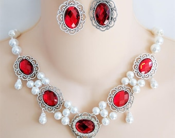 Red & Silver, Renaissance Necklace, Earrings, Medieval Necklace, Medieval Jewelry, Renaissance Jewelry, Game of Thrones, Ready to Ship