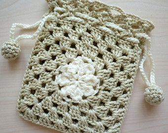 Crocheted Drawstring Pouch
