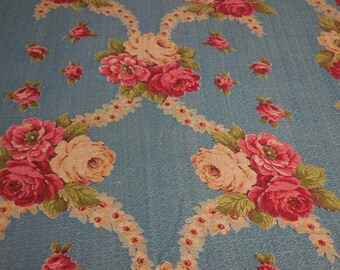 Beautiful Vintage Blue BARKCLOTH Fabric with Bouquets of Pink and Yellow ROSES and Garlands of Yellow Posies - 2 Pieces