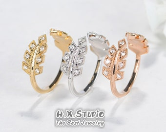 18k Diamond Vine Ring, Delicate Leaf Branch Ring, Gold Diamond Leaf Band, Vine Wedding Band, Open Wedding Band,Leaf Anniversary Wedding Ring