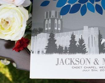 Custom Wedding Guestbook Personalized Canvas or Art Print Skyline & Silhouette Keepsake, Wedding Decor // 100+ Signature // W-T05-1PS HH3