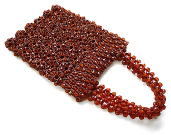 Unique Amber Colored Beaded Purse.