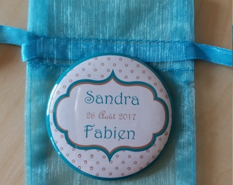 Magnet or Pocket mirror of the bride and groom names