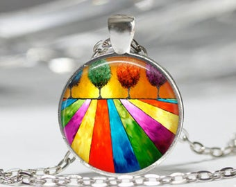 Trees and fields abstract multicolored glass cabochon necklace