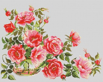 Cross Stitch Pattern Rosehip flowers counted embroidery