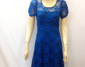 Blue Lace Bridesmaid Dress. Blue Evening Dress. Dress With Sleeves. Blue Knee Length Dress.
