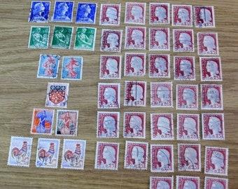 BTS Republique Francaise 47 Perforation 5-10-& 25 Cent Stamps-Canceled