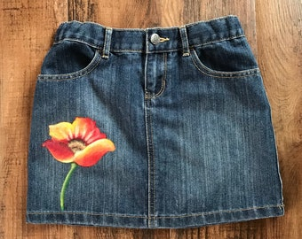 Size 10 Children's PlaceDenim Skirt, Red Poppy Skirt, Hand Painted Clothing