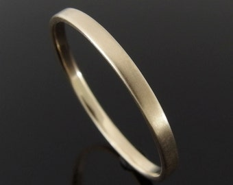 14k Yellow Gold Wedding Ring, Flat Profile Gold Wedding Band, Gold Wedding Ring, 14k Gold Ring, Satin Finish, 2 x 1 mm