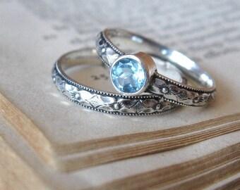 Blue Topaz Promise Ring Gemstone Stacking Ring Sterling Silver Blue Topaz Commitment Ring Boho Promise Ring Diamond Alternative Engagement