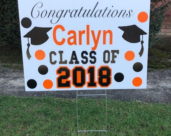 Graduation Yard Sign, Graduation Yard Sign, Class of 2018, High School Graduation, Graduation Announcement, Personalized Yard Sign