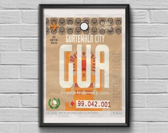 Guatemala Print Luggage Tag Art, Guatemala Framed Travel Decor, GUA Airport Code, Guatemala Poster Gift for Travellers, Guatemala Souvenir