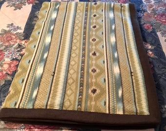 Southwest Native American Diamond Stripes 3 Layer Quilted Fleece Blanket (Sage Green, Blue, Browns, Cream, Brown Backing) READY to SHIP