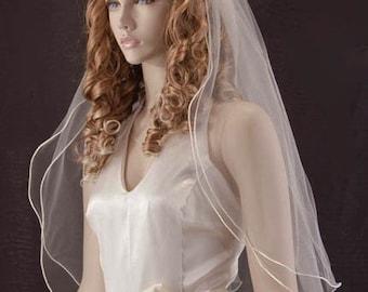 Wedding veil - 2 layer waist length bridal veil with satin cord trim and blusher