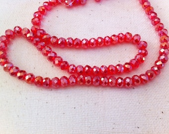 10 red currant Crystal, 6 x 4 mm, faceted beads