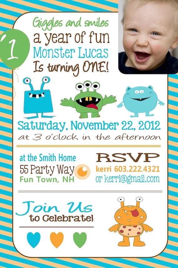 Monster birthday invitation first birthday monster party like this item stopboris Gallery