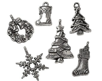 Dark Silver-Finish Christmas Charms, 15mm - 26mm, pack of 12