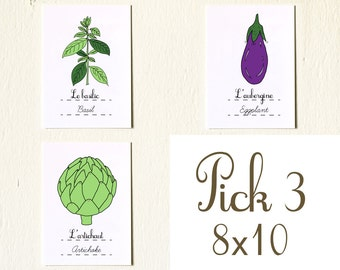 Kitchen Art French Vegetables Fruits Herbs Eco Friendly Custom set of three 8x10 vegetables fruits art prints Gardening Plants Mother's day