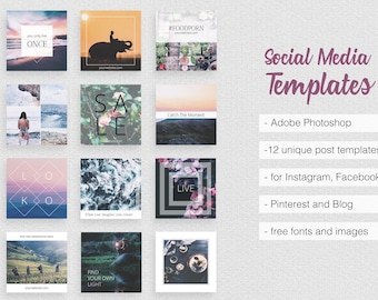 Asian Dream Social Media Templates PART 2 Instagram, Facebook Pinterest Marketing Promotion Travel Business Quotes Pack Feminine Elegant