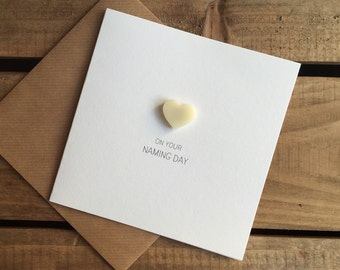 On Your Naming Day with Ivory detachable Heart magnet keepsake