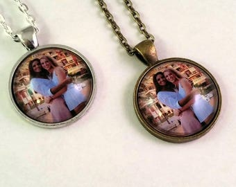 Custom Photograph Necklace, Silver or Bronze, Key Chain also available