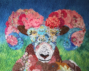 MarveLes IZAAK the Rocky Mountain Bloomin' Bighorn Sheep Western Wildlife Montana Glacier Park Floral Modern Wall Hanging Home Decor