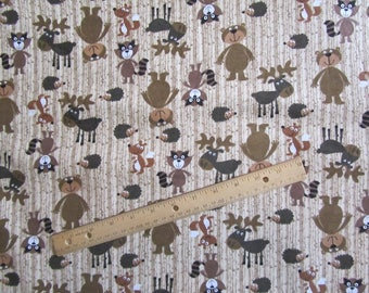 Brown Woodland Animal/Bear/Moose/ Raccon Flannel Fabric by the Yard