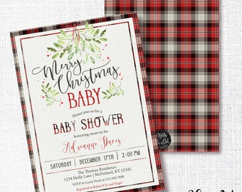 Merry Christmas Baby Shower Invitation, Printable, Winter Shower Invite, Farmhouse, Rustic, Cottage Chic, Greenery, Preppy Plaid, Neutral