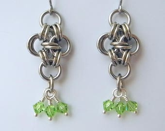 Stainless Steel Dangle Earrings with Swarovski Crystals, Japanese Cross Pattern Chainmaille USA Made Jewelry