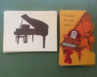 A lot of vintage Grand Piano invitations and blank cards