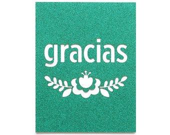 Gracias Floral Thank You Glitter Laser Cut Card