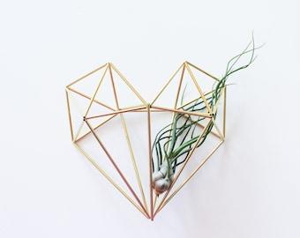 The Heart | Brass Himmeli, Modern Minimalist Geometric Ornament, and Air Plant Holder